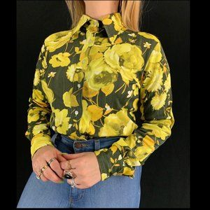 70s Rose Print Long Sleeve Button Down